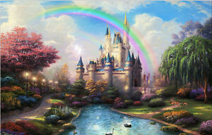 Thin vinyl photography backdrop CASTLE SCENE background stage prop 20x10ft DB909