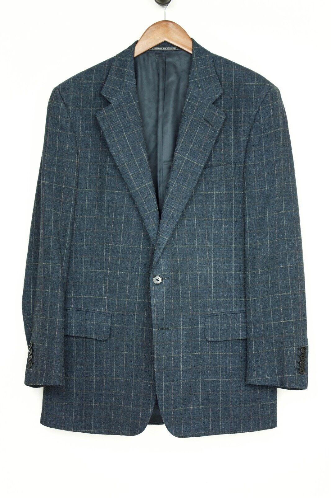 Dunhill x Ermenegildo Zegna Wool Linen Sport Coat 40L Dark bluee Beige Windowpane