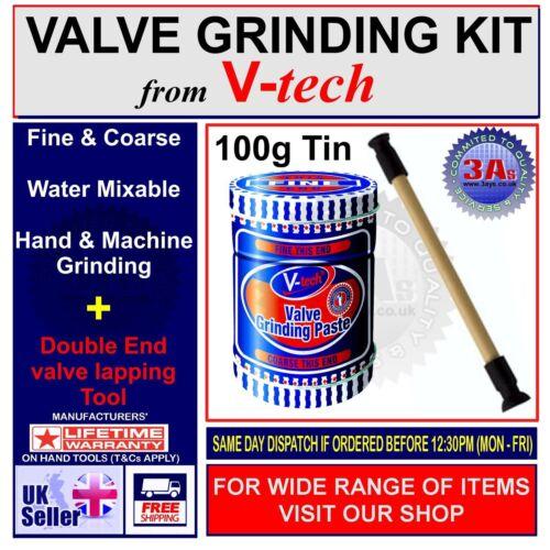 Kit de broyage valve V-Tech set-lapping stick tool+coarse /& fine grade pâte 110g