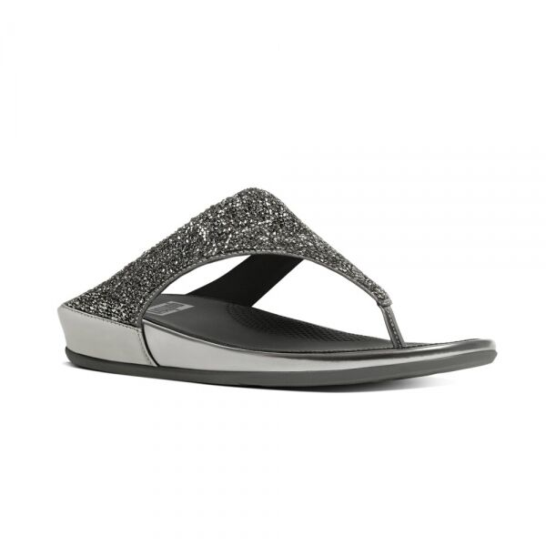 7c6236f81 FitFlop™ BANDA CRYSTAL Ladies Toe Post Crystal Sparkly Sandals Pewter Silver