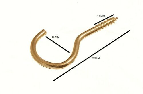 Cup Hook Screw In Unshouldered Total Length 38mm Brass Plated With Pack 10