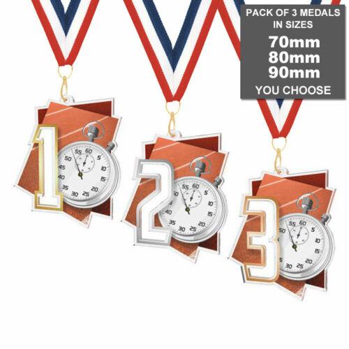 Lot de 3x running athlétisme 1st 2nd /& 3rd Acrylique médailles 70-90 mm et rubans