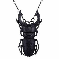 Restyle Beetle Alchemical Symbol Black 3D Gothic Witch Occult Chain Necklace