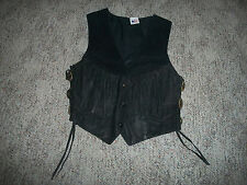 Womens Black Leather Vest Size S Snap Front Conchos Fringe Motorcycle USA