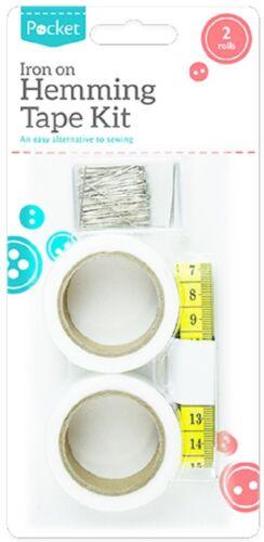 Fabric  Hemming Tape Fusion Set Iron On Web Roll Cloths Sewing Turn Up Hem Pins
