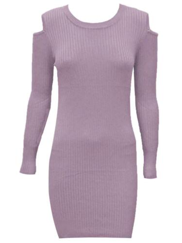 Womens Bodycon Mini Dress Cold Shoulder Ladies Knitted Pullover Jumper Sweater