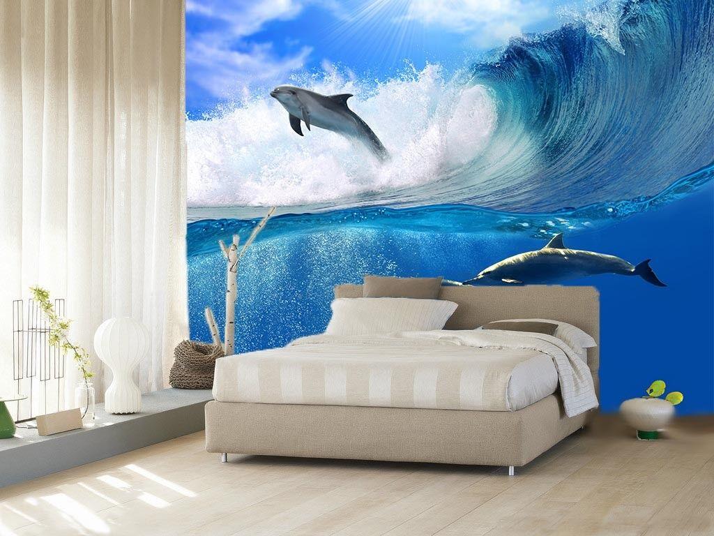 3D Sonnen Wellen Delfin 753 Tapete Wandgemälde Tapete Tapeten Bild Familie DE