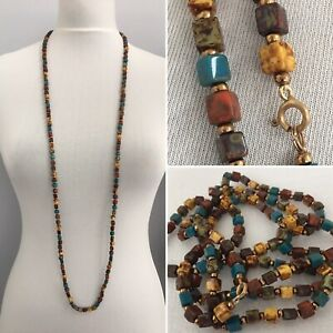 Vintage-Necklace-Art-Deco-Glass-Cube-Beads-Faux-Agate-Long-Hand-Knotted-Flapper