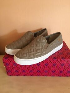 a856011d0036 Tory Burch Jesse Women Quilted Sneakers French Gray Leather Sz 8.5 ...