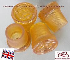 """4 of 12mm  Ferrules Crutch tip Walking Stick Cane Frame Pad Tip Ends 1/2""""-Golden"""