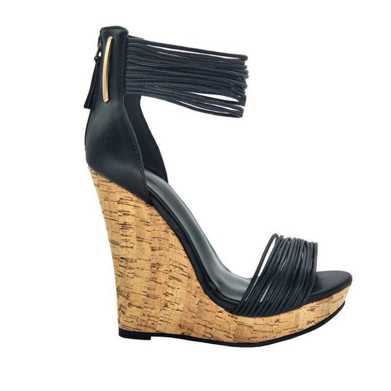 Sexy schwarz killer 5 5 5  high heel cork wedge sandals 21253b
