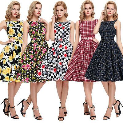 Vintage Retro 50s 60s Swing Housewife Pinup Evening Party Prom Dress