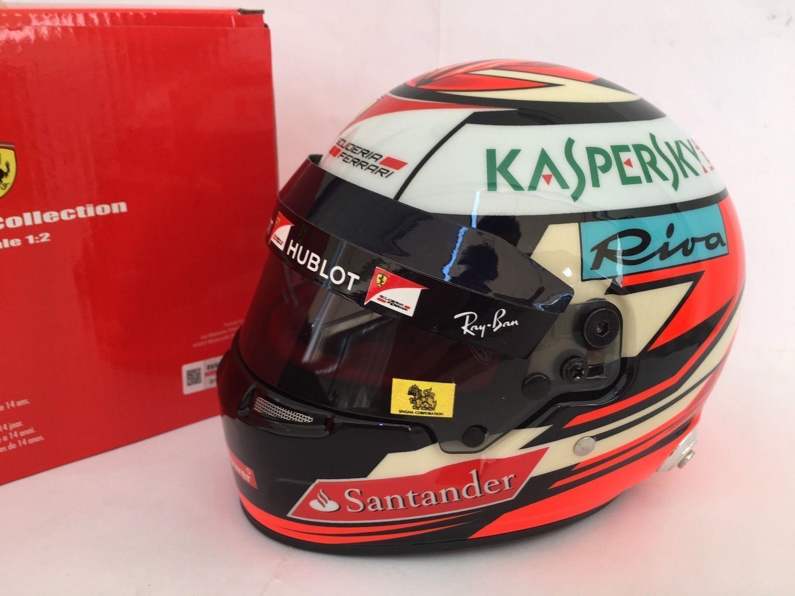 F1 MINI HELMET 1/2 CASQUE KIMI RAIKKONEN FERRARI 2017 NEW