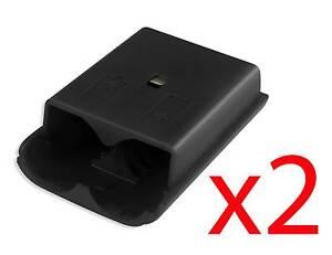 2x-Xbox-360-Wireless-Controller-capot-arriere-noir-batterie-Pack-piece-de-rechange