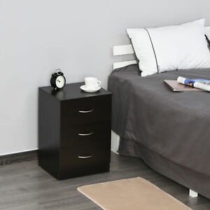 Modern Style Bedside Table with 3 Drawer Storage Cabinet Bedroom Living Room