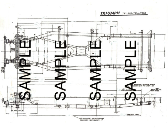 Triumph Tr2 Tr3 Tr3a Tr3b Frame Diagram With Dimensions