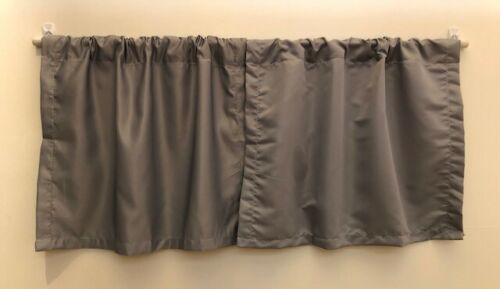 Gray Basement Window Curtain Set with Tension Rod