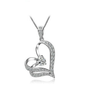Fashion-Women-Crystal-Rhinestone-Heart-Silver-Chain-Pendant-Necklace-Jewelry-NEW