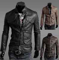 New Men's Slim Fit Designed Sexy Zipper PU Leather Short Jacket Coat 0306