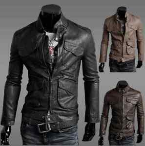 New-Men-039-s-Slim-Fit-Designed-Sexy-Zipper-PU-Leather-Short-Jacket-Coat-0306