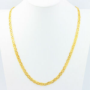 1.4MM 925 Yellow Sterling Silver Mariner Chain link Mens Necklace 24in