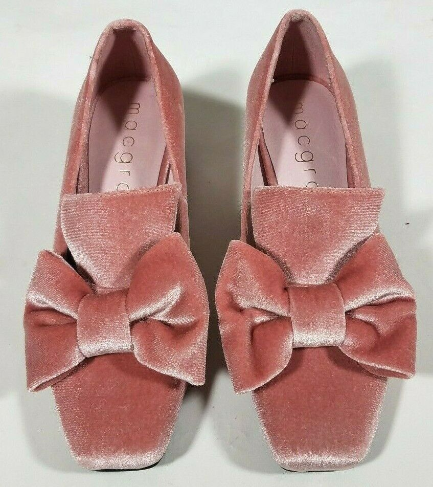 MacGraw Rose Velours Noeud Talons Chaussures-Taille 36 6