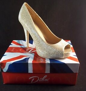e579a31a7ac Diba London TENITH Gold Sparkle Peep Toe Platform Heels Size 9 1/2 ...