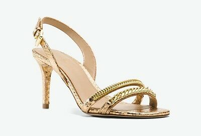 Michael kors Jackie Metallic Embossed Leather Sandals Pale Gold Size 9M New