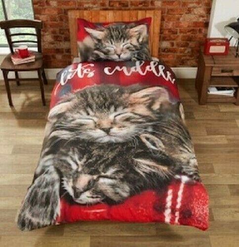 """Rapport /""""CUDDLY CATS/"""" Red Easy Care Duvet Cover Set S//D//K"""