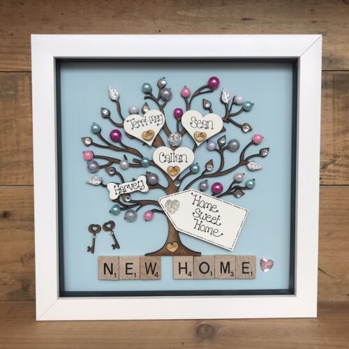 New Home Personalised Frame Family tree Scrabble First Home Gift House Warming