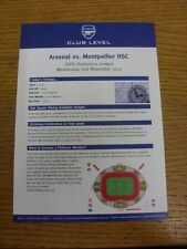 21/11/2012 Arsenal v Montpellier [Champions League] Club Level Menu & Todays Tim
