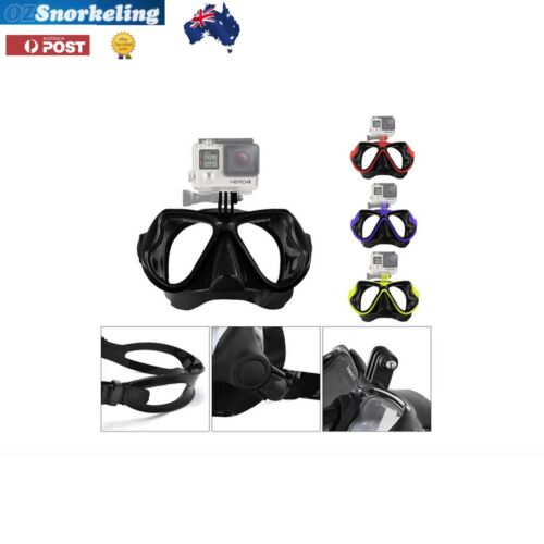 Gopro Diving Mask Snorkeling Tempered Glass Silicone Yellow Black Blue Red