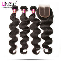 7a Brazilian Body Wave Hair 3 Bundles With Closure Wavy Human Hair Lace Closure