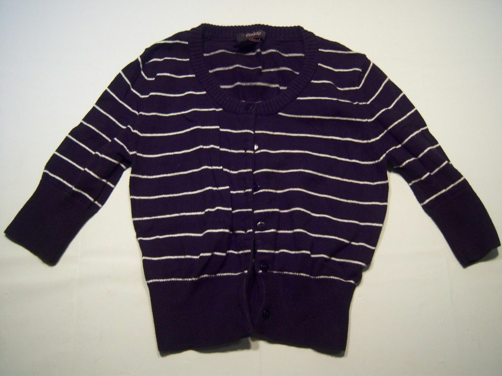 Anxiety Casual Striped Button Down Cardigan Sweater Women's Size S