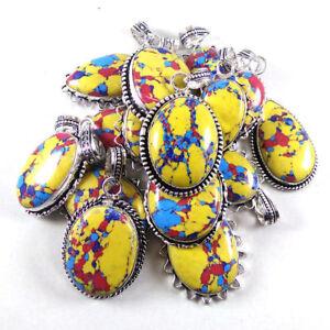 Yellow-Mosaic-Jasper-Gemstone-Wholesale-Lots-50pcs-Handmade-Pendant-Jewelry