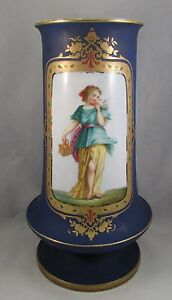 Antique-Old-Paris-porcelain-cobalt-portrait-vase-blue-bird-1850