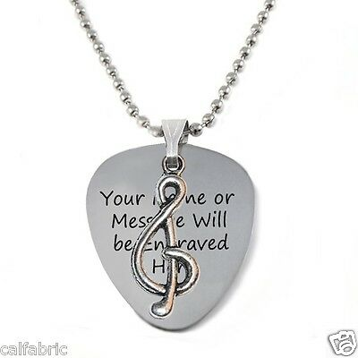 Personalized Stainless Steel Guitar Pick Necklace with Tibetan Musical Note