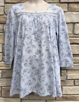 Earth Angels Xl Nightgown Womens Long Sleeve Short Gown Blue Toile Floral