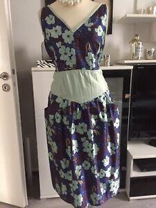 Petticoat Kleid Rockabilly Gr.46 Blau Mint Blumenmuster | eBay