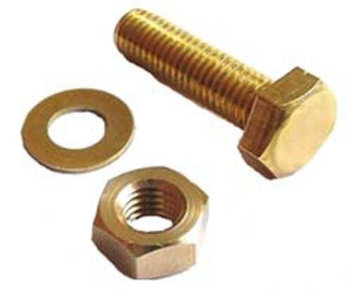 Nuts /& Washers M5 x 40 Brass Hex Head Bolts 5mm x 40mm Brass Set Screws x4