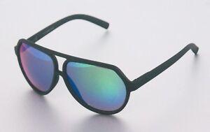 GIL Design Piloten Aviator Sonnenbrille Matt Schwarz Grün Verspiegelt NEU G3 frCUAWaK