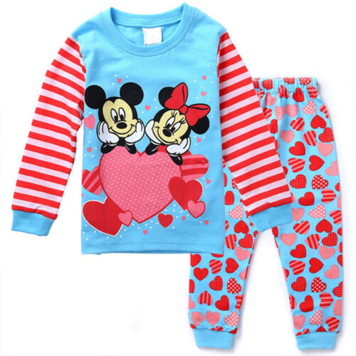 Child Boys Girl 2PCS Lounge Casual Sleep Wear Outfits Set Nightwear Pj/'s Pyjamas