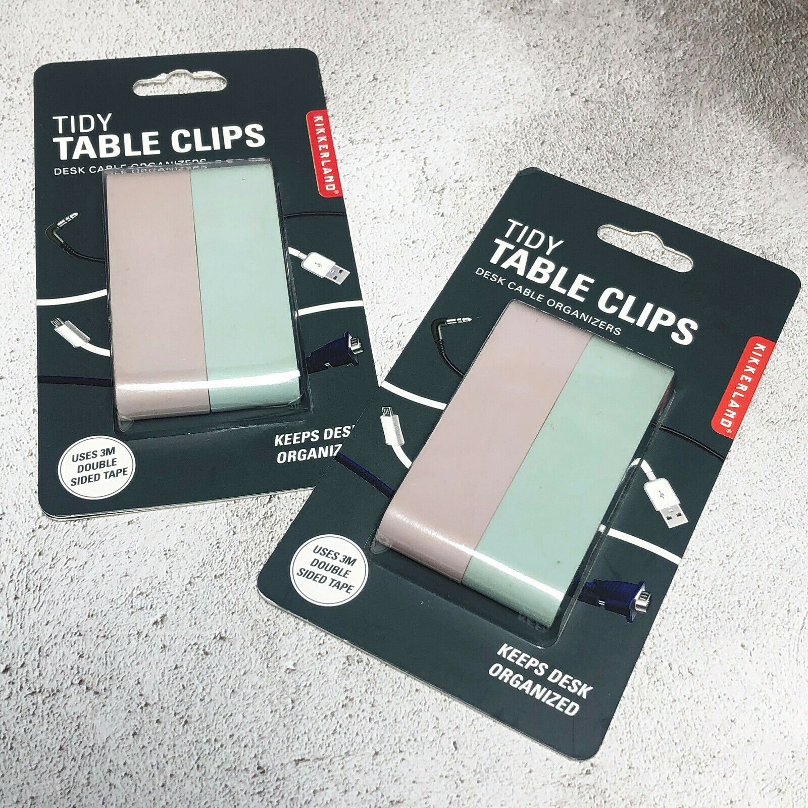 BN 2 x Urban Outfitters Kikkerland Tidy Table Clips Desk Cable Organizers Pastel