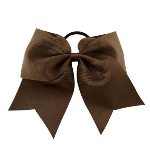 "8/"" Cheer Bows Hair Bands Grosgrain Ribbon Bows Grosgrain Tie Elastic Bands"