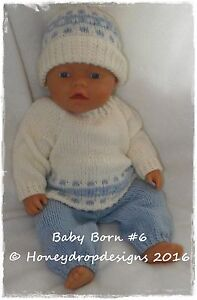 Honeydropdesigns-PAPER-KNITTING-PATTERN-6-For-Baby-Born-17-Inch-Dolls