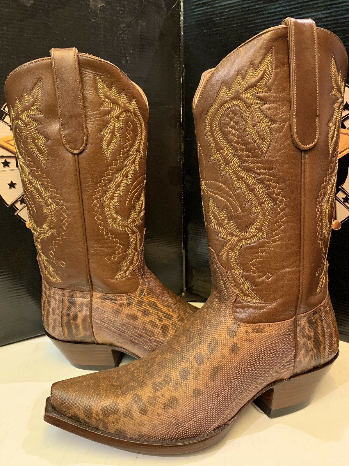 Star Boots Western W9211 Lady's  Peanut Karunga Snake Leather Brown  NEW