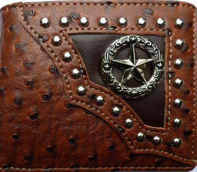 Mexico Men Wallet Western Bifold Check Book Style W071-2 Ostrich Beige