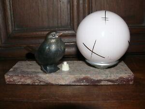 Raritaet-Original-Art-Deco-Lampe-Tischlampe-kleiner-Vogel-ca-1925-Frankreich