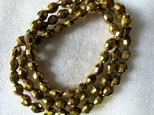 Glorieux 1 - 5 Cordes Plaqué Or à Facettes Perles 10 X 8 Mm Brillant Artisanat Fabrication De Bijoux-afficher Le Titre D'origine