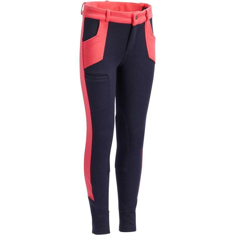 BEST PRICE Girls Horse Riding Jodhpurs - Navy Pink